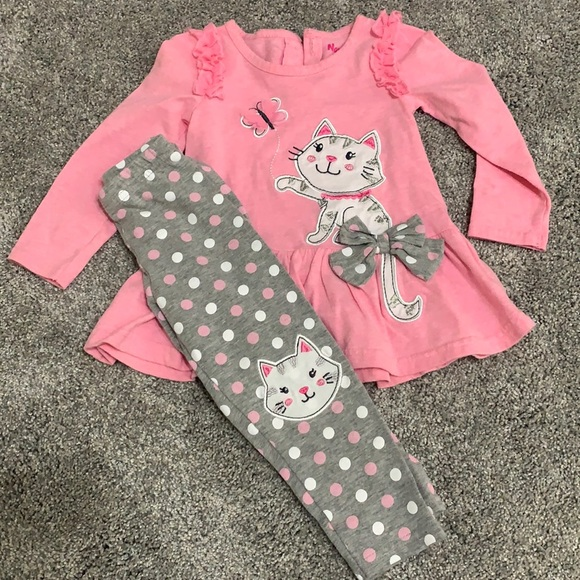 Pink and Grey Kitty Cat Outfit